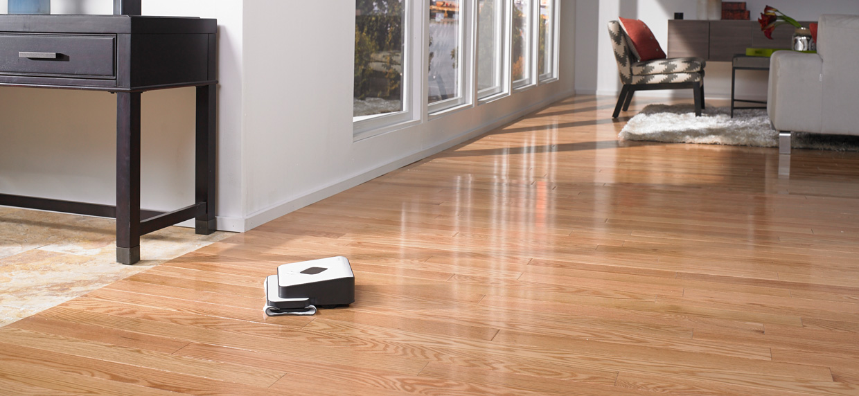 iRobot's Braava 300 series mopping living room