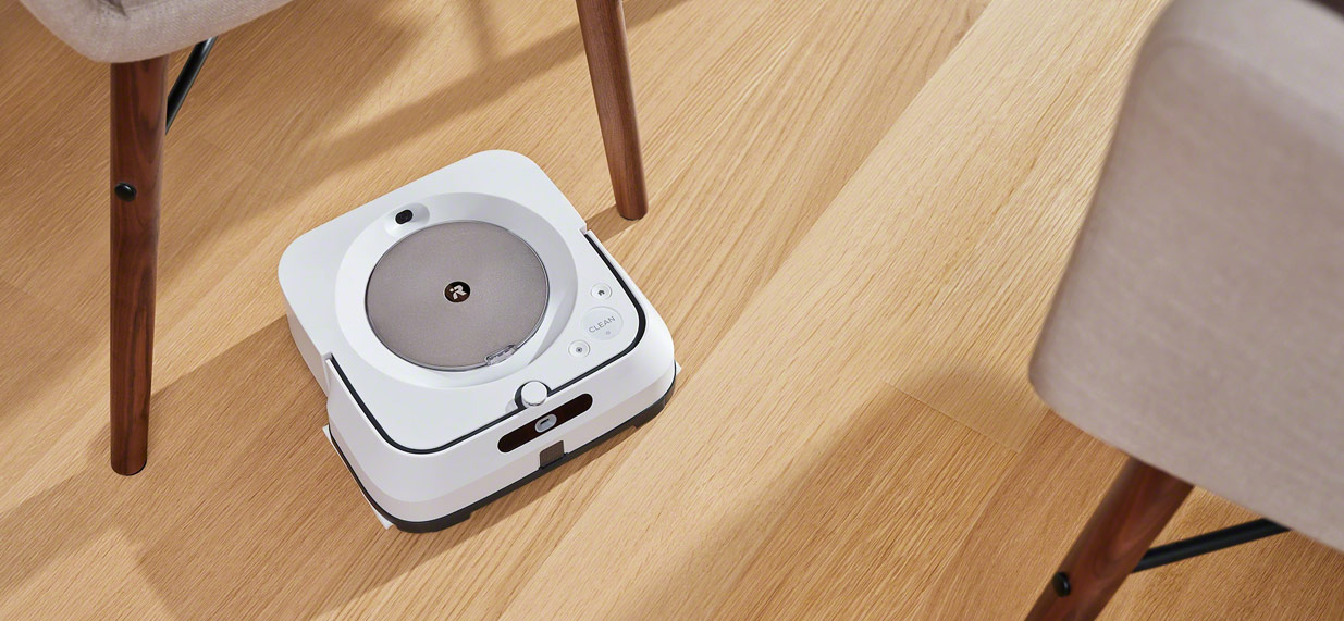 iRobot's m6 braava cleaning under chair