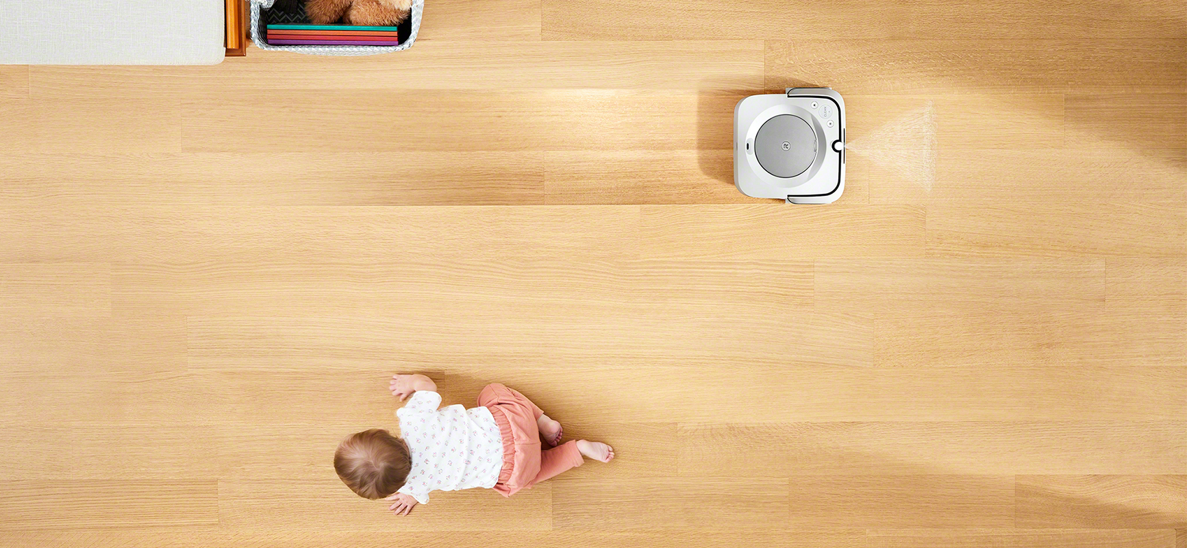 Braava m6 mopping floor while baby is crawling