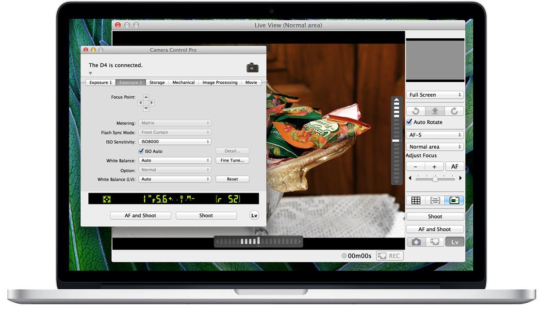 Controllo remoto Nikon D4 in HTTP da Browser Mac OS X e iOS